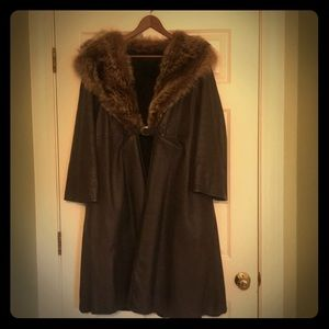 Full Length Brown Leather And Rabbit Fur Coat